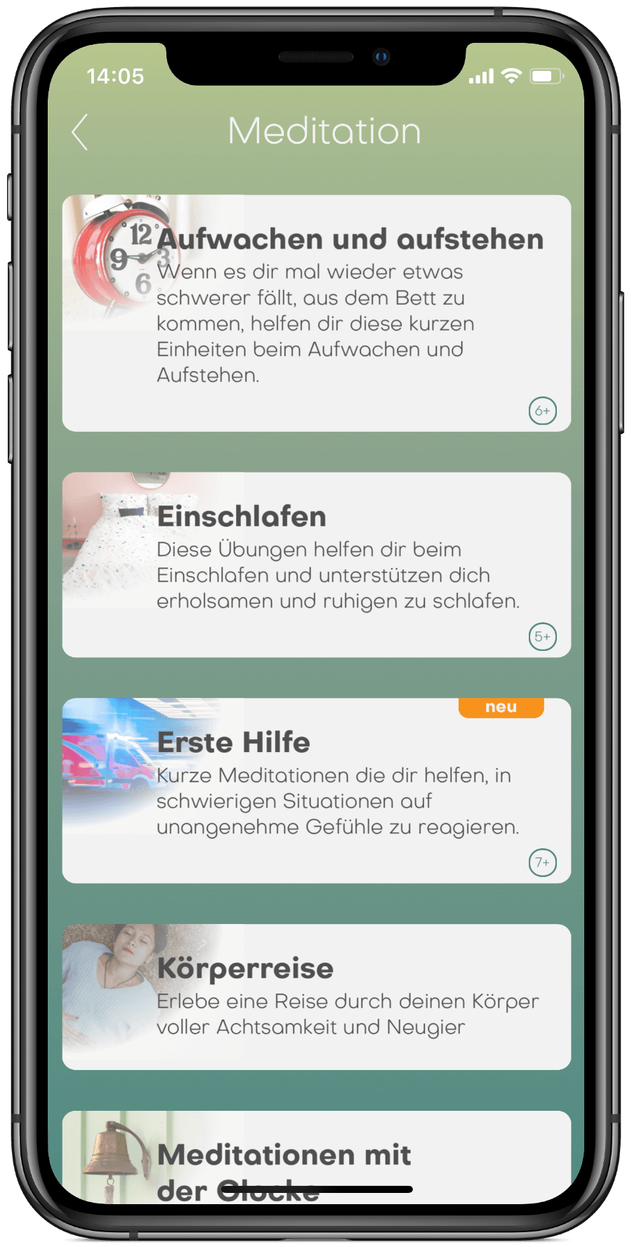 BuddhaBoo App Kategorie Übersicht, Achtsam Essen, Achtsamkeit im Alltag, Lernen mit Boo