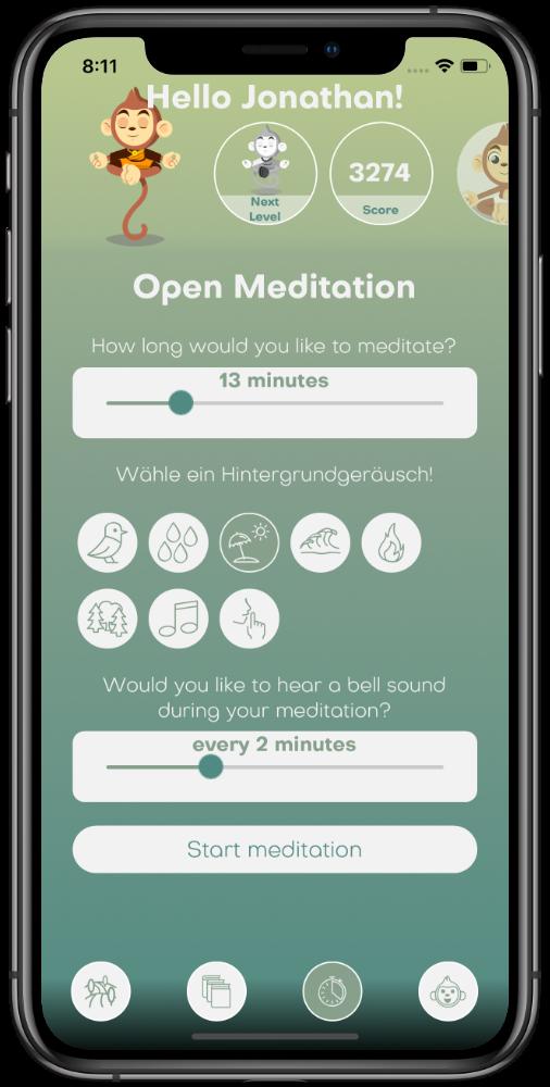 Screenshot of the BuddhaBoo-App (Timer)
