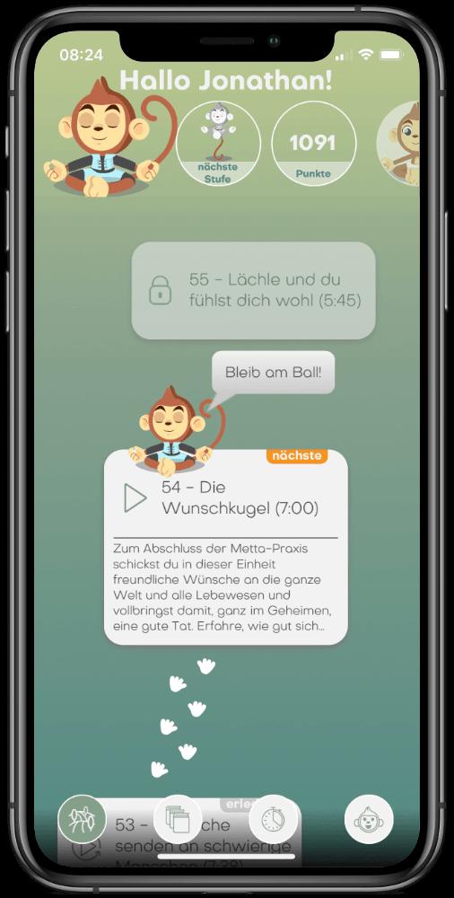 BuddhaBoo App Startseite v2.1 auf dem iPhone